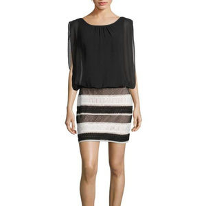 Aidan By Aidan Mattox Blouson Black White Dress